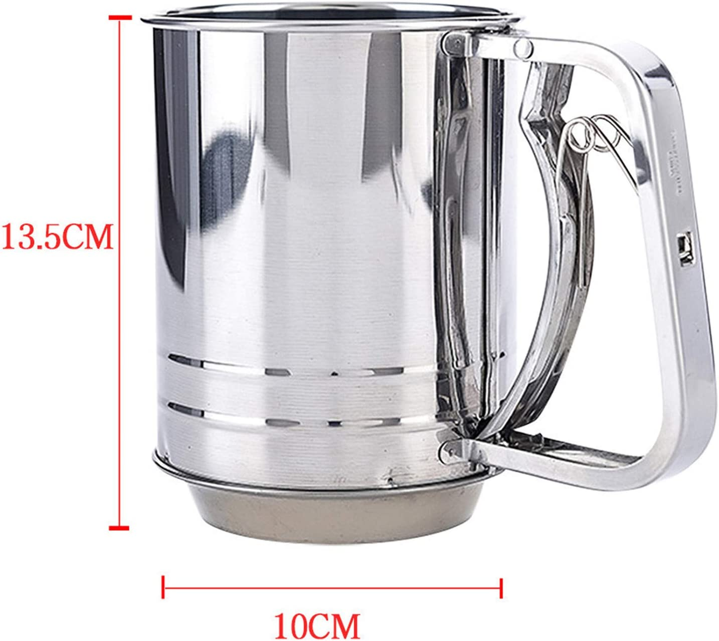 Large Capacity Stainless Steel For Baking Suitable Sieve Cup for Powdered Sugar Hand Crank Flour Sifter Stainless Steel 13.5x10cm