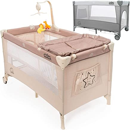 all Kids united Baby Travel Cot Deluxe Baby Center Travel Bed Children s Play Pen with Changing Mat  Beige