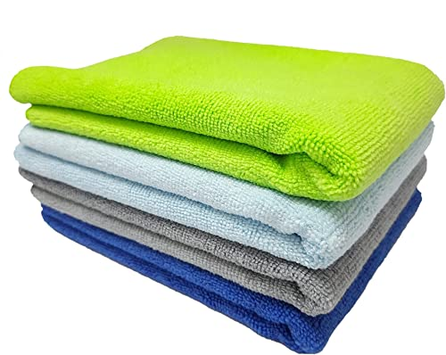 SOBBY Microfiber Cloths, 4pcs - 40 cm x 40cm - 340 GSM Multi Color - Highly Absorbent, Lint and Streak Free, All Purp...