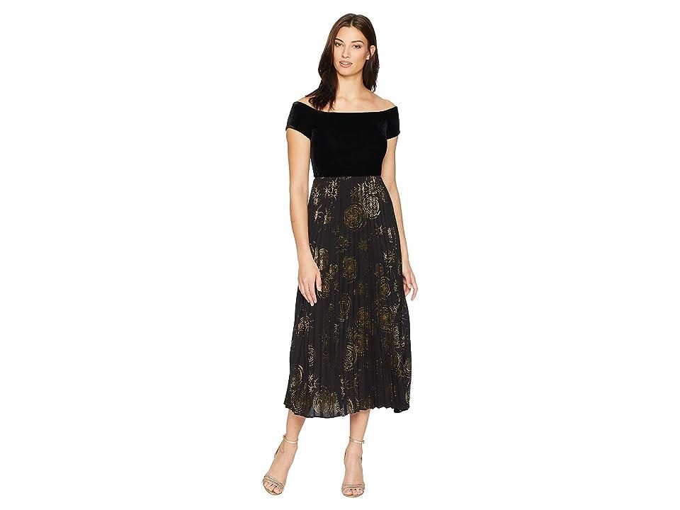 Donna Morgan Off the Shoulder Midi Dress w/ Metallic Pleated Skirt (Black/Gold Multi) Women
