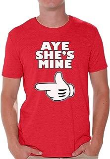 Men's Aye She's Mine T-Shirt Couples Shirt + Bookmark