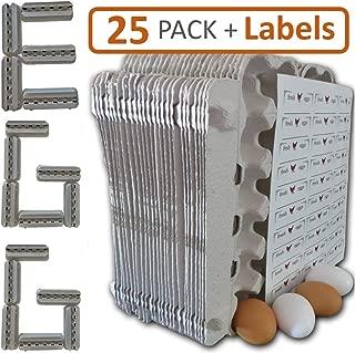 Egg Cartons - 25 Bulk Pack - 30 Bonus Quality Blank Labels of multi temp vinyl material, 100% recycled pulp biodegradable material, holds one dozen eggs, multi-use, sturdy, bulk cheap egg carton