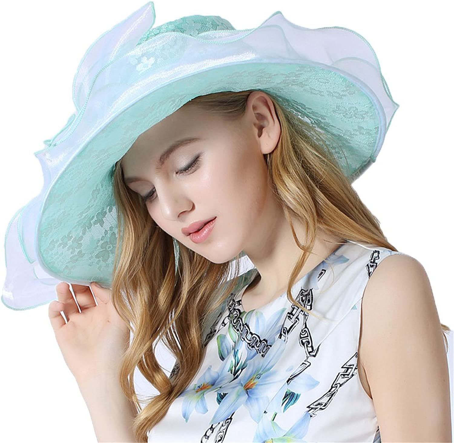 W.S.-YUE Spring and Summer Gauze Cap with Big Cap Flowers Decorated Hat