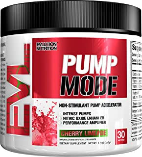 Evlution Nutrition Pump Mode Nitric Oxide Booster to Support Intense Pumps, Performance and Vascularity (Cherry Limeade, 30 Servings)