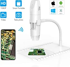 Yoosoon Wi-Fi Wireless Digital Microscope Handheld USB Camera 8 LED HD 1080P 2.0 MP Endoscope 50x to 1000x Magnification Compatible Flexible Arm Observation Stand for Android iOS Phone Mac Table PC