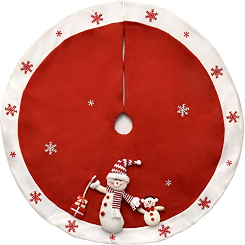 "Gift Boutique Elegant Red Christmas Tree Skirt 48"" Plush Snowman with White Snowflakes Border"