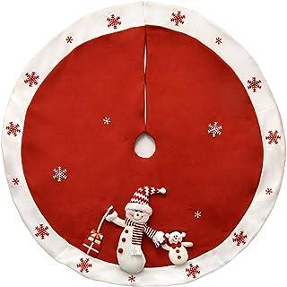 """Gift Boutique Elegant Red Christmas Tree Skirt 48"""" Plush Snowman with White Snowflakes Border"""