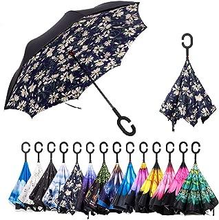 Reversible Umbrella - Double Layer Inverted Umbrella Reverse Folding Umbrella Windproof UV Protection Big Straight Umbrella, Upside Down Umbrellas with C-Shaped Handle, for Car Travel Outdoor