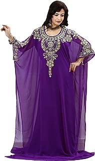 OKM Women's Dubai Style Kaftan Caftan Farasha Jalabiya Abaya Long Maxi Dress Top