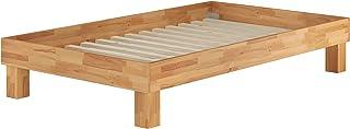 Erst-Holz Lit Adulte en hêtre Massif huilé 140x200, lit futon sans tête de lit, sommier à Lattes 60.87-14