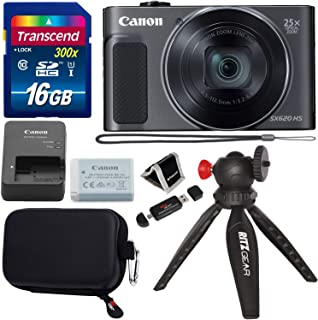Canon PowerShot SX620 Digital Camera w/25x Optical Zoom - Wi-Fi & NFC Enabled (Black), Transcend 16GB SDHC Memory Card, Ritz Gear Point & Shoot Camera Case and Accessory Bundle