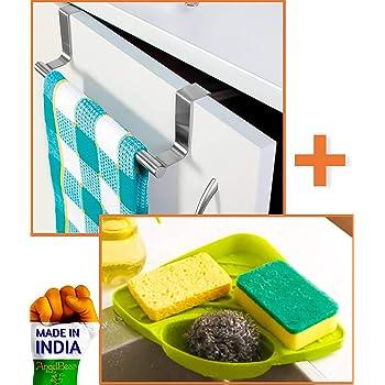Angel Bear Combo of Brushed Steel Kitchen Towel Holder and Corner Sink Wash Basin Storage Organizer Rack