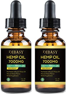 2 Pack Hemp Oil 7000mg - Hemp Oil Extract for Anxiety & Stress Relief, Helps with Sleep, Skin & Hair - All Natural Drops 1...