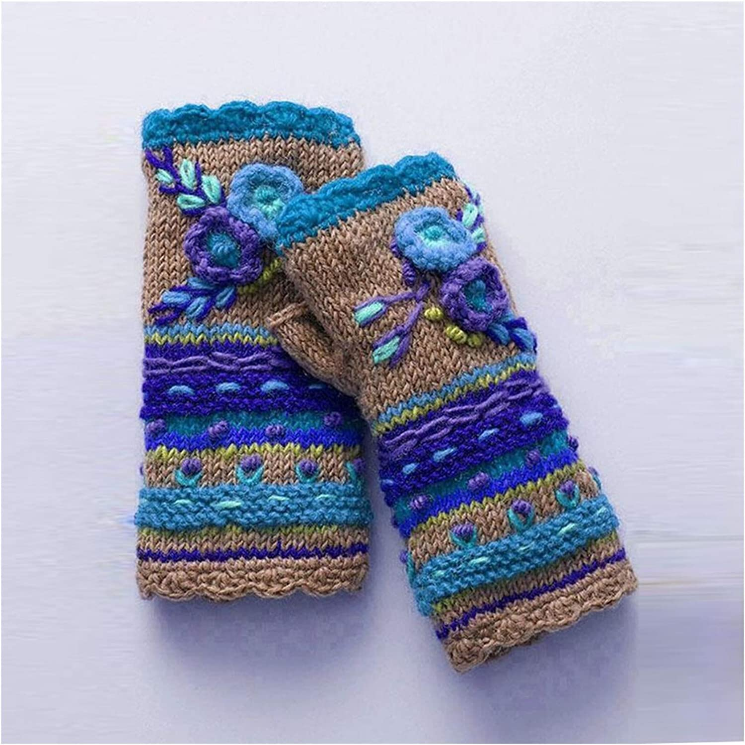 GUYANMAY Lace Gloves Womens Winter Christmas Gloves Warm Flower Handwarmers Gloves Mittens Warm Soft Short Fingerless Gloves (Color : A)