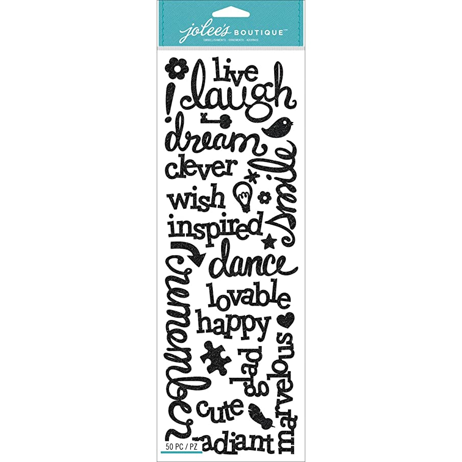 Jolees Boutique Stickers, Laugh and Love Black Glitter Words