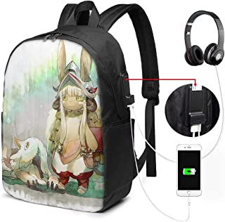 REECECAM Nanachi and Kitty USB Backpack 17-Inch Laptop Backpack Adjustable Shoulder Strap Men's and Women's Large School Bag College School Backpacks