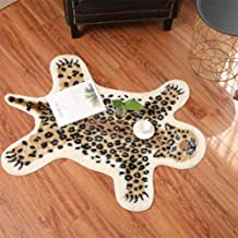 Leopard Print Rug, 2.7 x 3.5 Feet Faux Fur Cowhide Skin Rug Animal Printed Area Rug Carpet for Decorating Kids Room, Under Coffee Table, Cowboy-Themed Nursery, Jungle Themed Room, Playroom
