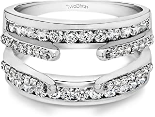 TwoBirch Sterling Silver Combination Cathedral and Classic Ring Guard With Cubic Zirconia (1.01 ct.)