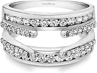1.01 Ct. Combination Cathedral and Classic Ring Guard with Diamonds (G,I2) in 10k Gold