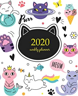 2020 Weekly Planner: Calendar Schedule Organizer Appointment Journal Notebook and Action day With Inspirational Quotes  Funny doodle cats collection. ... poses (Weekly & Monthly Planner 2020)
