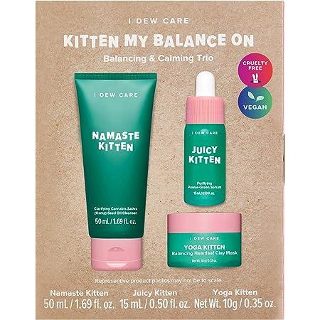 I DEW CARE Kitten My Balance On I Serum, Foam Cleanser, Wash-off Mask Set | Korean Skincare Facial Treatment Gift | Vegan, Cruelty-free, Gluten-free, Paraben-free