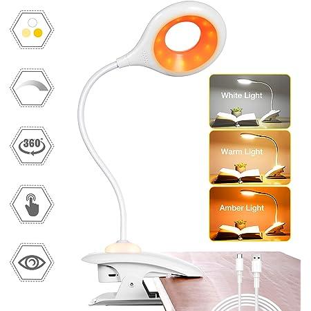 Mefine Lampe de lecture 20 LED /à pince avec pince 3 couleurs 3 luminosit/é USB Rechargeable Lit 360 /° Flexible Protection des yeux Contr/ôle tactile Blanc
