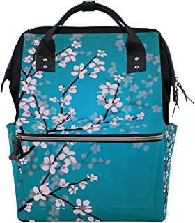 dd02d379d1 imobaby Japanese Sakura Flowers Cherry Blossom Changing Bags Large Capacity  Handbags Canvas Shoulder Bag Backpack