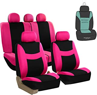 FH Group FB030115 Light & Breezy Flat Cloth Full Set Car Seat Covers Set, Airbag & Split Ready w. Gift, Pink/Black- Fit Most Car, Truck, SUV, or Van