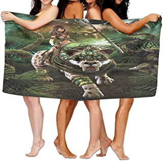 JACARTER PUSAUL Tiger Fantasy World Graphics of Scene with Jungle Girl and Saber-Tooth Tiger Magical Plants Galaxy Art Soft Lightweight Beach Towel Pool Towel 31