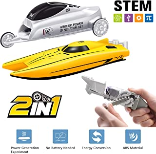 Selieve Pool Toys for Toddlers Age 3-5, 2 in 1 Wind-up Power Toy Boat & Car for Outdoor Play Game, STEM Toys Educational Toys Gifts for 4 -12 Year Old Boys or Girls