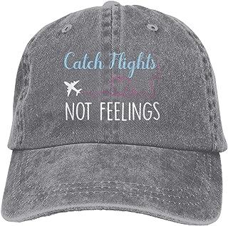 Catch Flights Not Feelings Cowboy Cap Unisex Adjustable Dad Baseball Hat Gray