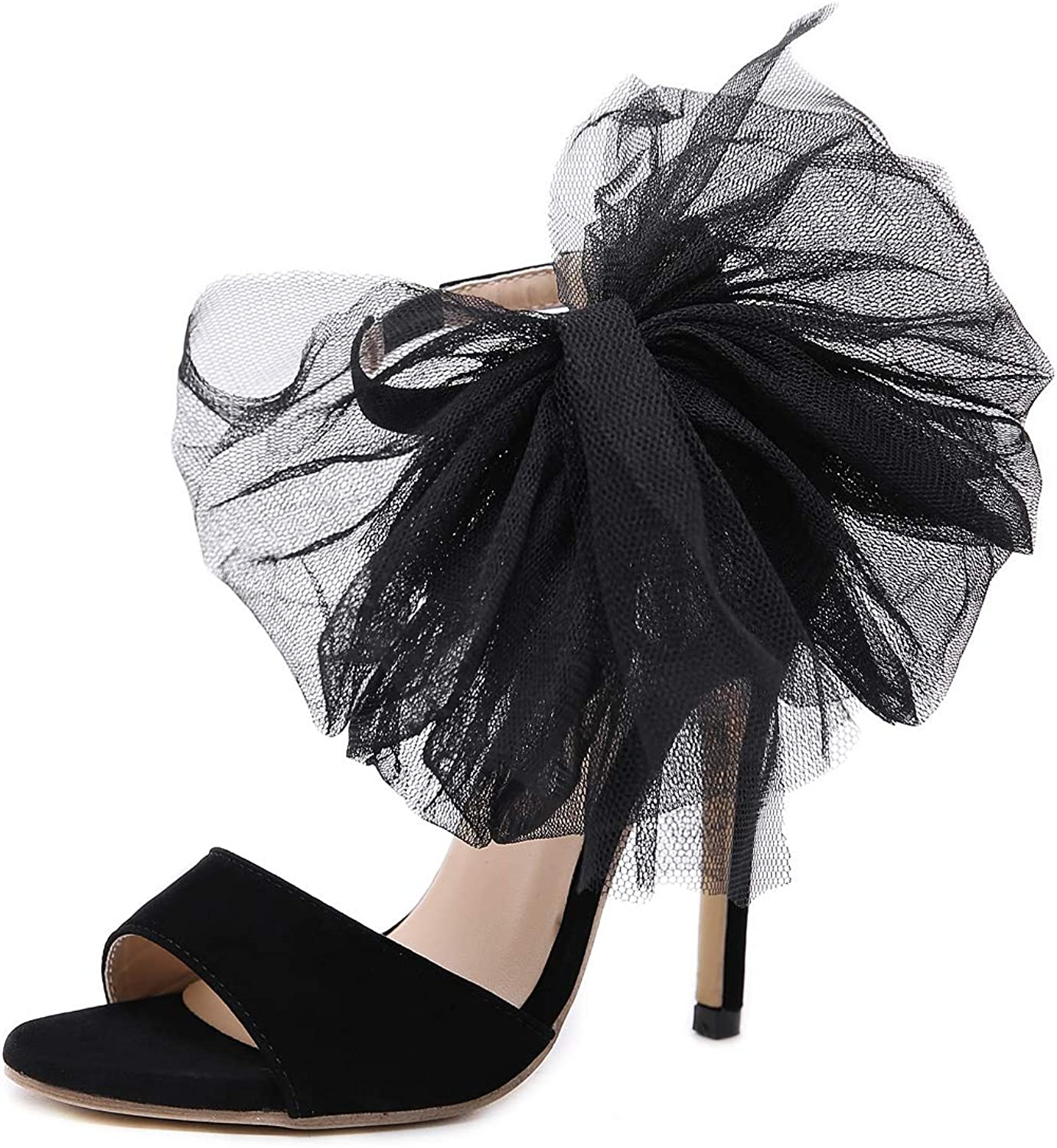 Ladies Sandals Lace Bow Black Sexy Stiletto Openwork shoes