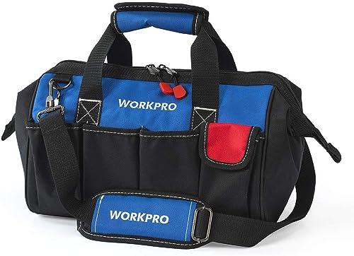 WORKPRO Sac à Outil avec Multi Poches et Grande Capacité, Sac Porte-outils 35 x 25 x 19 cm