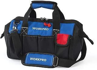 WORKPRO 14-inch Tool Bag, Multi-pocket Tool Organizer with Adjustable Shoulder Strap