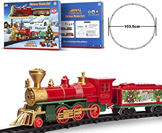 FENFA Deluxe Train Set with Lights and Sounds 40 Inches Diameter Round Shape Railway Tracks for Under The Christmas Tree Electronic Toys for Boys and Girls Battery Operated Toys Gift for Kids 1600A-7C