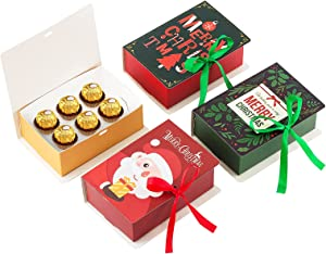 Christmas Candy Box Holiday Chocolate Candy Gift Box Packaging for Homemade Chocolates Cute Cookie Box for Holiday Small Christmas Gift Box with lid(4 Pack)