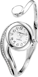 Top Plaza Women Casual Elegant Silver Tone Small Dial Bangle Cuff Bracelet Dress Analog Quartz Watch 6 Inches