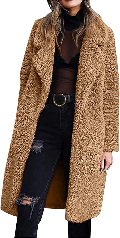 Women's Fuzzy Fleece Coat Lapel Open Front Long Cardigan Winter Warm Faux FurOutwear Overcoat Outercoat