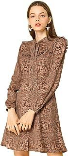 Allegra K Women's Work Office Tie Neck Ruffle A-line Polka Dots Dress