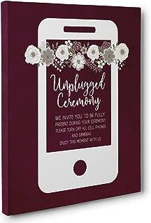 Burgundy Unplugged Wedding Ceremony Sign Canvas Art
