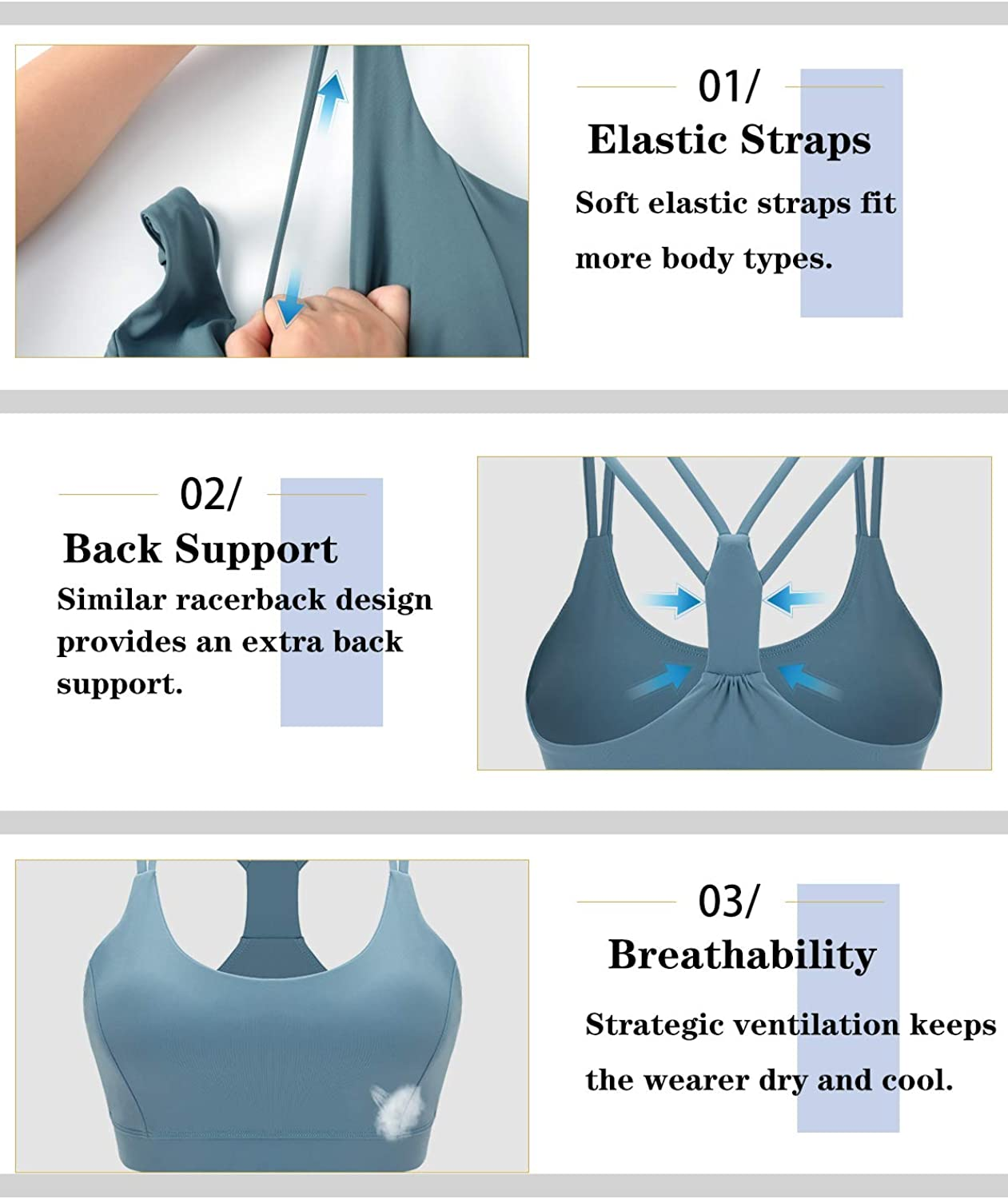 RUNNING GIRL Strappy Sports Bra,Medium Support Padded Yoga Bra with Removable Cups Ultra Stretch Workout Bra for Women