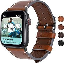 Fullmosa Correa Apple Watch Series SE 6/5/4/3/2/1, 4 Colores, Vintage Pulsera de Cuero Reemplazo de Apple Watch para Mujeres Hombres, Marrón Oscuro + Hebilla Gris Ahumado, 42mm/44mm