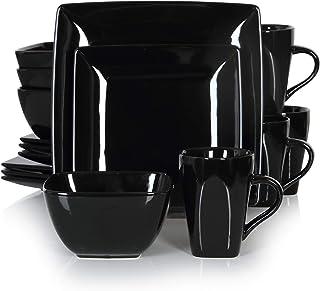 vancasso, Série Soho, Service de Table 16 pièces pour 4 Personnes, Assiette Porcelaine Carrée avec Bol à Céréales et Tasse...