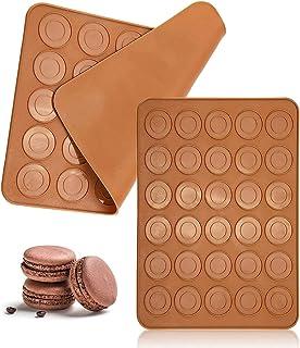 حصيرة ماكارونز - قطعة واحدة من 30 فتحة مستديرة الشكل من السيليكون مع حصيرة ماكارون، أداة خبز الكعك المعجنات وأدوات صنع الك...