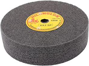 uxcell 8 inches Dia 2 inches Thick 180 Grit Nylon Fiber Wheel Abrasive Polishing Buffing Disc Black