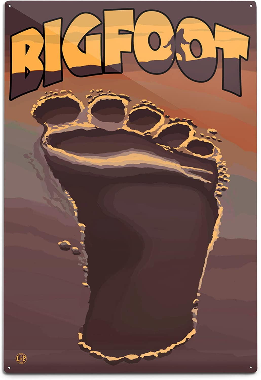 Lantern overseas Press Bigfoot Footprint Aluminum Sign 12x18 Max 64% OFF Wall