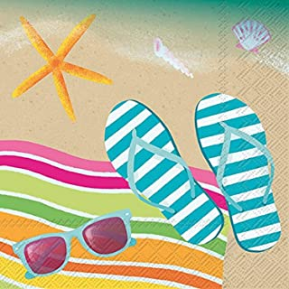 Celebrate the Home Tropical 3-Ply Paper Cocktail Napkins, Flip Flop Sand, 20 Count