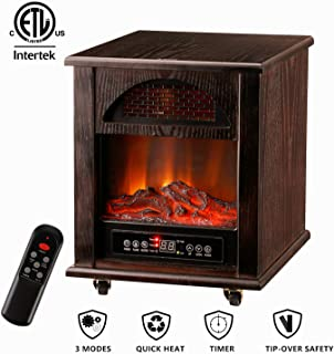 GDY Electric Space Heater with Fireplace 1000W-1500W Infrared Zone Heating Systems with Thermostat Tip-Over and Overheat Protection Remote Control 12hr Timer & Filter (Dark Brown)