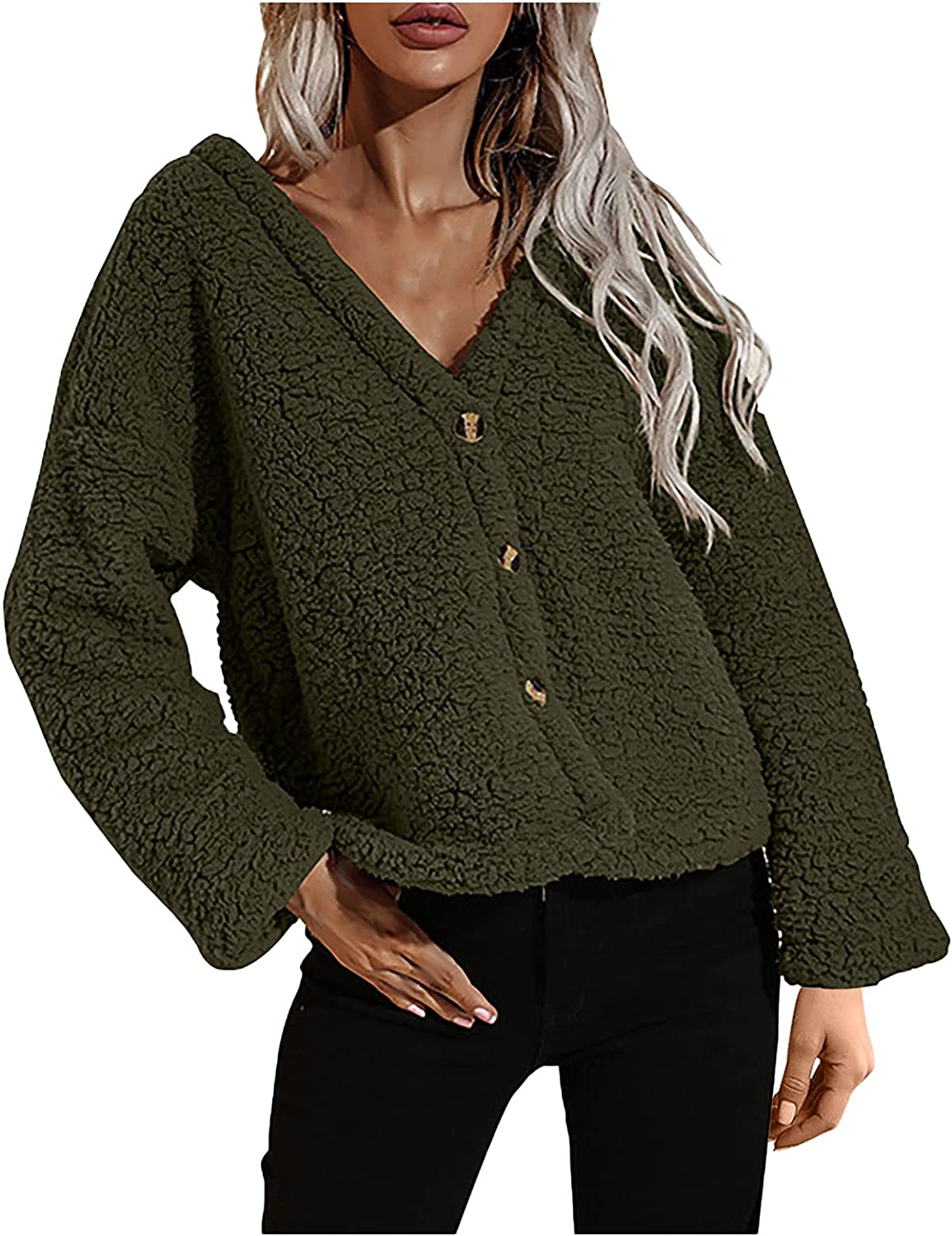 Women Warm Outwear V-Neck Long Sleeve Pullover Fuzzy Solid Color Tops Fashion Winter Loose Sweatshirts