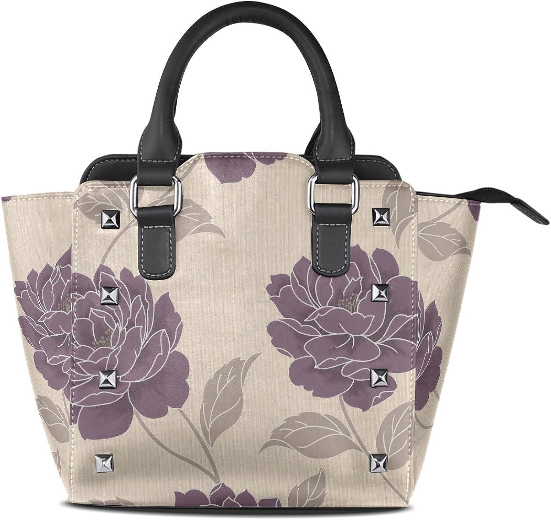 Sunlome Classic Plum Floral Print Women's Leather Tote Shoulder Bags Handbags
